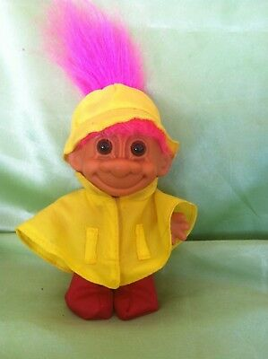 TROLL RUSS DOLL RAINCOAT VINTAGER w FOOT STICKER RARE COLLECTABLE