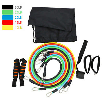 Resistance Band Set Yoga Pilates Exercise Fitness Tube Workout ABS With Bag LPS