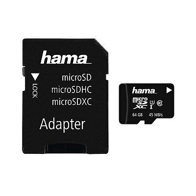 Hama 64GB microSDXC Class 10 Memory Card + Adapter 45 Mb/s For Mobile Phones