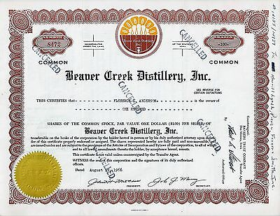 Beaver Creek Distillery Inc., Iowa, 1966 (100 Shares) Whiskey-Aktie