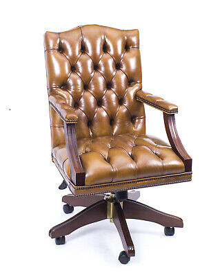 Bespoke English Handmade Gainsborough Leather Desk Chair Cognac