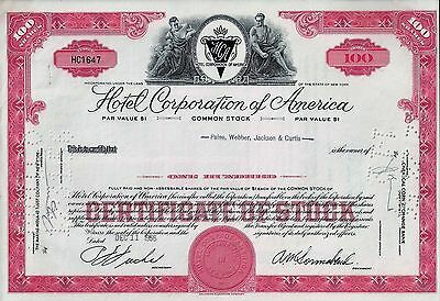 Hotel Corporation of America, New York, 1956  (100 Shares)