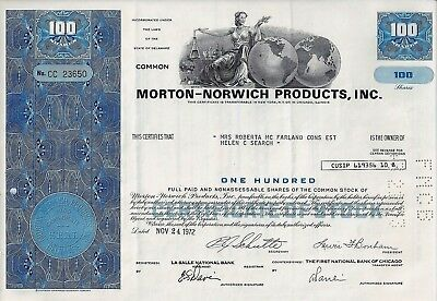 Morton-Norwich Products Inc., Delaware, 1972 (100 Shares)