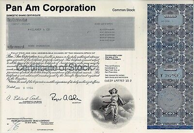 Pan Am Corporation, Domestic Share Certificate, 1986  (100 Shares)