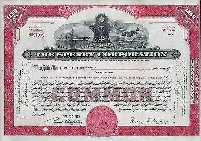 The Sperry Corporation (Unisys), Delaware, 1955 (5 Shares) sig.H.F. Vickers