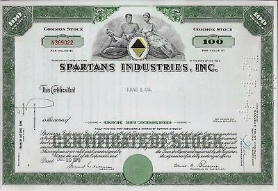 Spartans Industries Inc., Delaware, 1970 (100 Shares)