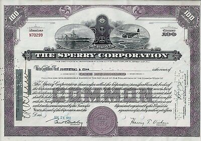 The Sperry Rand Corporation (Unisys), 1955 (100 Shares) sig.H.F. Vickers