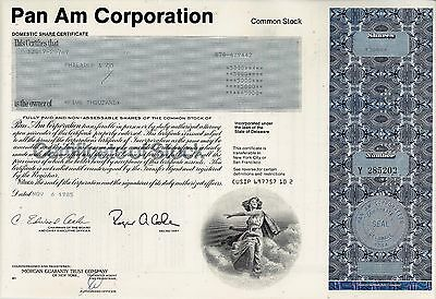 Pan Am Corporation, Domestic Share Certificate, 1985  (5.000 Shares)