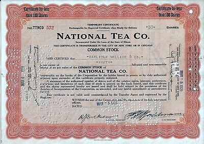 National Tea Co., Illinois, 1929  (50 Shares) Temporary Certificate
