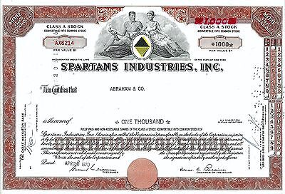 Spartans Industries Inc., New York, 1970 (1.000 Shares Class A Stock)