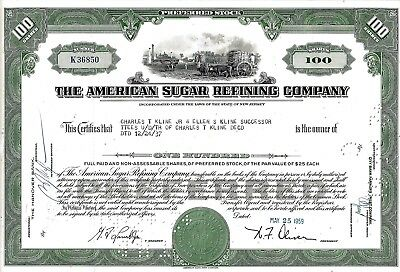The American Sugar Refining Company, New Jersey, 1959 (100 Shares Preferred)