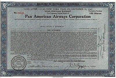 Pan American Airways Corporation,1945, Stock Purchase Warrant (100 Shares)