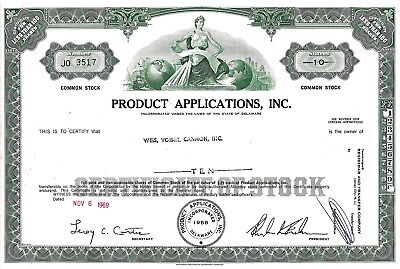 Product Applications Inc., Delaware, 1969 (10 Shares)