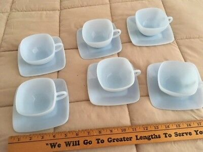 Azurite Cups And Saucers Unmarked Fire King,light Blue Milk Glass,lot (6)