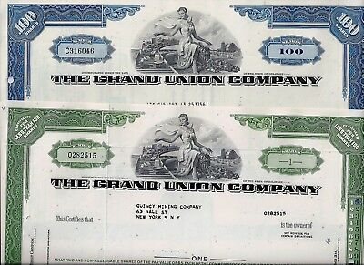 Special: 2 x The Grand Union Company, Delaware, 1966/1972 (1+100 Shares)
