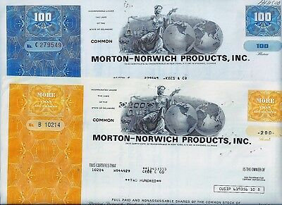 Special: 2 x Morton-Norwich Products Inc., 1970/76 (100/200 Shares)
