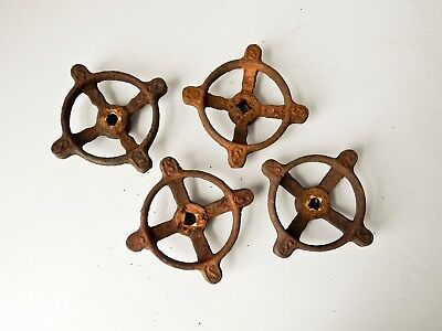4 Large Vintage Iron Faucet Handles, Valves, Knobs, Rusty Handles
