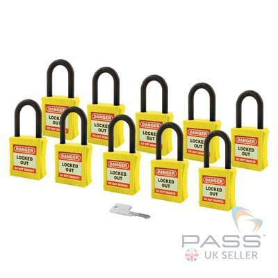Lockout Insulated Padlock - NYLON Shackle - Key Alike (Yellow Pack of 10)