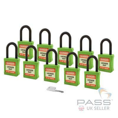 Lockout Insulated Padlock - NYLON Shackle - Key Alike (Green Pack of 10)