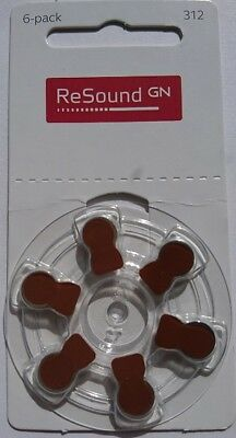 Resound Size 312 Hearing Aid Batteries (Brown Tab) x60 cells