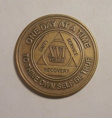 NEW aa bronze alcoholics anonymous 16 year sobriety chip coin token medallion