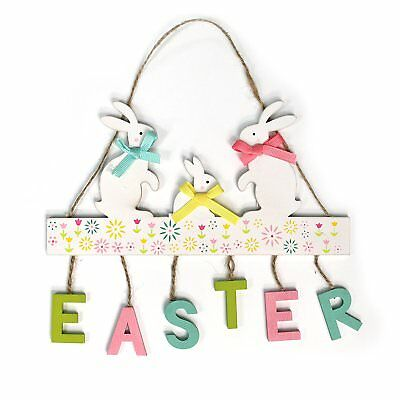 Rustic Shabby Chic Style Thatched Wooden Easter Bunny Wreath on Carrot Swing Hanging Decoration