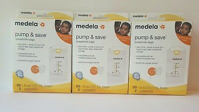 Medela Pump & Save Breastmilk Bags 20- 5oz/150 mL bags 2-adapters - ( Lot of 3)