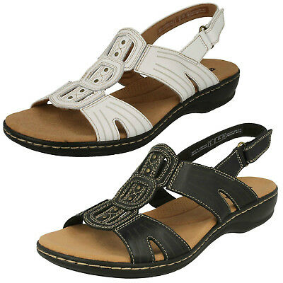 0ff1cc2f52b Ladies Clarks Leisa Vine Black or White Casual Leather Sandals - D Fitting