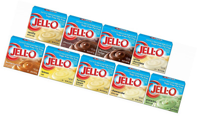 Instant Pudding Jell-O Sugar Free Sampler 0.9-1.4oz Pack of 9 Different Flavors