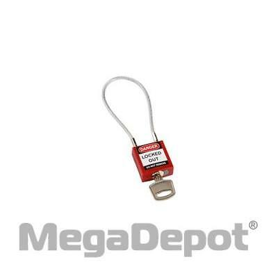 """Brady Corporation 146120, 4.2"""" Compact Cable Padlock KD - Red"""