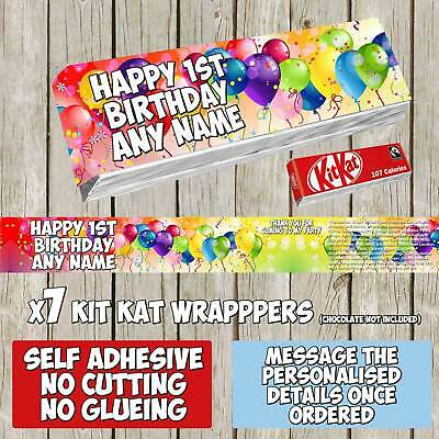 7 x Balloons Baloon Personalised Self Adhesive KitKat Labels Birthday K089
