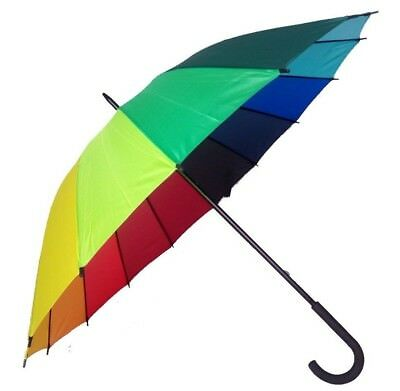 16 Panel Rainbow Golf Umbrella with Curved Handle - Ideal for Wedding Photos