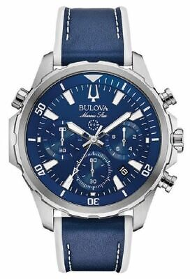 Bulova Men's Chronograph Marine Star Blue Leather & Silicone Strap Watch 96B287