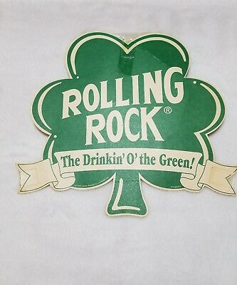 Rolling Rock Latrobe Brewing Co Vintage Paper Sign St Patrick's Day 1996 Clover
