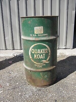 Vintage Quaker Koat Oil 16 Gallon Can -- Man Cave Great For Trash Can - Cool