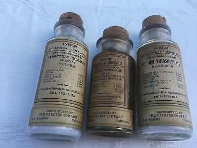 Antique Bottles  Glass Cork Bottle ~ P-W-R analytical Chemical COLLECTIBLES
