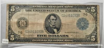 """1914 $5  five dollar bill , US Federal Reserve Note """"Chicago Illinois"""""""