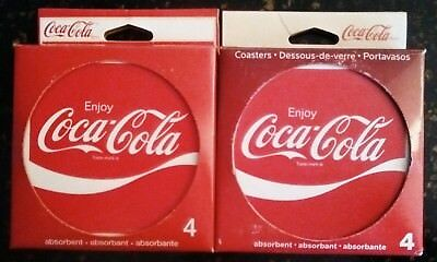 Two Packs Of 4 Coca-Cola Stoneware Ceramic Absorbent Coasters, New In Boxes