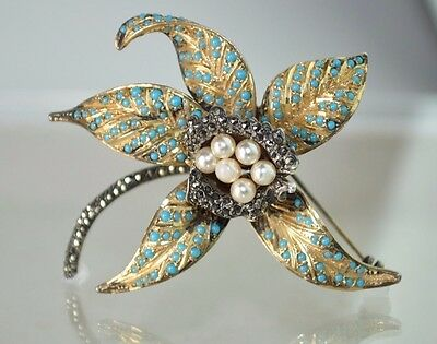 Antique Sterling Silver Orchid Iris Flower Brooch Marcasite Turquoise Beads