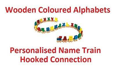 Wooden COLOURED Railway Personalised Name Train Alphabet Letters Childrens Gifts