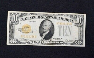 1928 $10 Dollar Gold Certificate VF+ First Year Small Size Legal Tender US Note