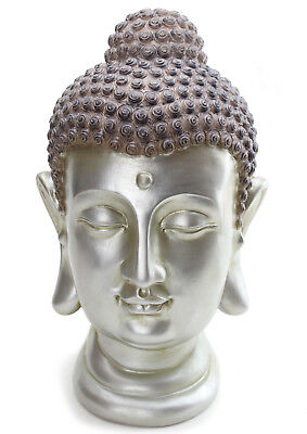 "LARGE 12"" Tall Buddha Shakyamuni Head Statue Smiling Meditating Buddha US Seller"