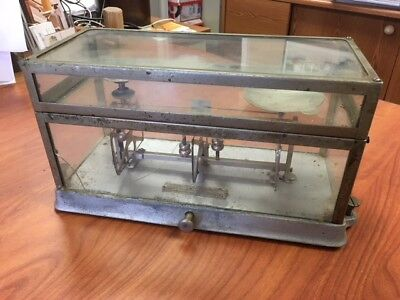 Torsion Balance Co Scale New York Style 269 In Glass Metal Case Incomplete