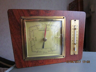 Altes Barometer, Thermometer in Echtholz. Fabrikat Genia. Eiche Mittelton