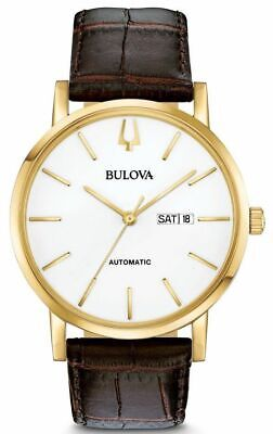 Bulova Men's Classic Automatic White Dial Brown Leather Strap Watch 97C107