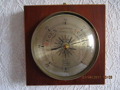 """Altes Barometer, Thermometer in Echtholz. Fabrikat """"Fischer"""". Eiche hell poliert"""