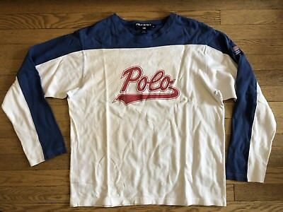 VTG POLO SPORT L/S SHIRT Script Spellout Usa Flag Medium 90s Bear Ralph Lauren