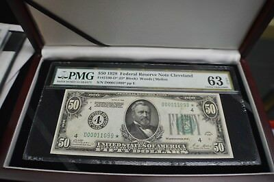 $50 1928 Federal Reserve Star  Note Cleveland  Fr#2100-D* 7  Rare With  Case
