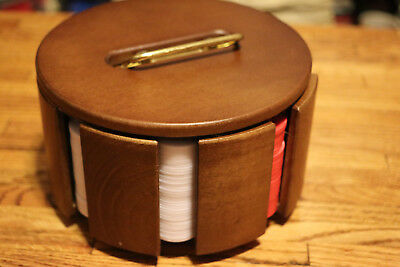 Wooden Poker Chip Card Covered Holder Caddy on Carousel Spin Base w/ chips