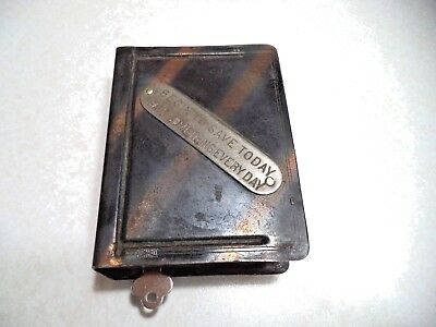 Steel Safe Book Bank  W/ Key Every Day Savings Bank  Vintage